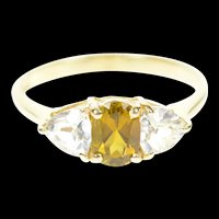 10K Three Stone Syn. Citrine Cubic Zirconia Ring Size 8.75 Yellow Gold [CXXP]