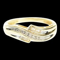 10K Wavy Tiered Channel Diamond Band Ring Size 7 Yellow Gold [CXXP]