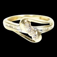 10K Wavy Diamond Inset Bypass Freeform Ring Size 3.75 Yellow Gold [CXXP]