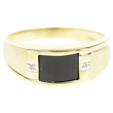 10K Men's Faceted Black Onyx Diamond Accent Ring Size 12.25 Yellow Gold [CXQC]