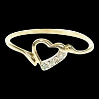 10K Classic Diamond Inset Heart Design Ring Size 6 Yellow Gold [CXXP]