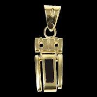 14K Black Onyx Inset Squared Drop Bar Pendant Yellow Gold [CXQC]