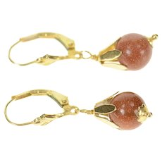 14K Retro Round Goldstone Flower Drop Dangle Earrings Yellow Gold [CXQC]