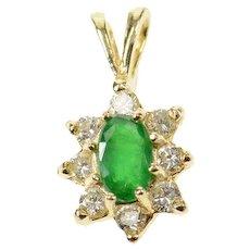 14K Oval Natural Emerald Diamond Halo Pendant Yellow Gold [CXQC]