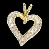 14K Classic Diamond Heart Love Symbol Pendant Yellow Gold [CXQC]