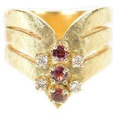 14K Ruby Diamond Cluster Chevron Statement Ring Size 6.25 Yellow Gold [CXQC]