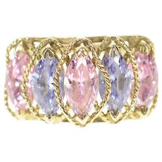 10K Pink & Purple Marquise Cubic Zirconia Ring Size 5.25 Yellow Gold [CXQC]