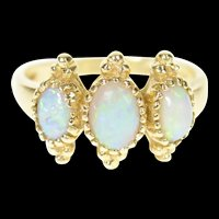 14K Ornate Three Stone Natural Opal Statement Ring Size 6 Yellow Gold [CXXP]