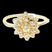 14K Retro Diamond Tiered Cluster Halo Statement Ring Size 6 Yellow Gold [CXXP]