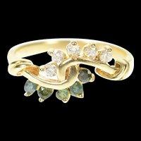 14K Emerald Diamond Swirl Bypass Statement Ring Size 6 Yellow Gold [CXXP]