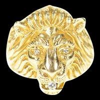 14K Ornate Diamond Inset Roaring Lion Face Ring Size 8.5 Yellow Gold [CXXP]
