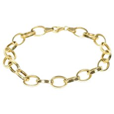 "14K 7.5mm Oval Cable Link Hollow Chain Bracelet 7"" Yellow Gold [CXXP]"