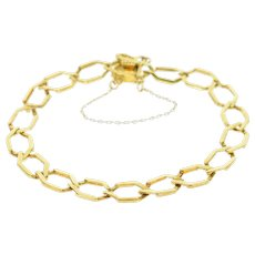 "18K Victorian Squared Link Fancy Chain Bracelet 6"" Yellow Gold [CXXP]"