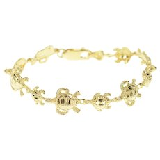 "14K Textured Turtle Tortoise Link Animal Chain Bracelet 6.5"" Yellow Gold [CXXW]"
