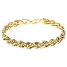 "14K 7.9mm Ornate Wavy Link Fancy Chain Bracelet 6.5"" Yellow Gold [CXXW]"
