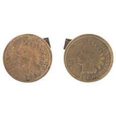 Copper 1889 & 1904 Indian Head Penny Men's Cuff Links  [CXXR]
