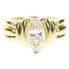 14K Marquise Solitaire Grooved Travel Engagement Ring Size 7.25 Yellow Gold [CXQC]