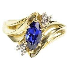 10K Marquise Syn. Sapphire Diamond Bypass Ring Size 7.25 Yellow Gold [CXQC]
