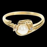 10K Pearl Diamond Accent Three Stone Ring Size 6.25 Yellow Gold [CXXW]