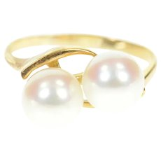 18K Retro Two Pearl Ornate Swirl Bypass Ring Size 8.5 Yellow Gold [CXQC]