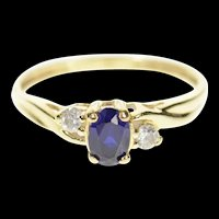 10K Three Stone Oval Syn. Sapphire CZ Ring Size 7 Yellow Gold [CXXW]