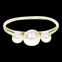 10K Three Stone Pearl Simple Classic Ring Size 7 Yellow Gold [CXXW]