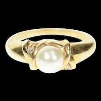 10K Pearl Diamond Accent Three Stone Classic Ring Size 7 Yellow Gold [CXXW]