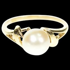 14K Classic Pearl Inset Simple Bypass Wavy Ring Size 5.75 Yellow Gold [CXQC]
