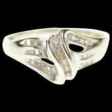 10K Wavy Diamond Inset Curvy Bypass Statement Ring Size 10.75 White Gold [CXQC]