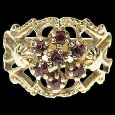14K Ornate Round Flower Garnet Cluster Statement Ring Size 5.25 Yellow Gold [CXQC]