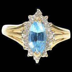 10K Marquise Blue Topaz Diamond Halo Cocktail Ring Size 7 Yellow Gold [CXQC]