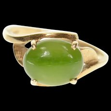 14K 1960's Retro Nephrite Jade Leaf Bypass Ring Size 6 Yellow Gold [CXQC]