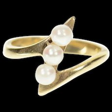 14K Pearl Inset Zig Zag Bypass Statement Ring Size 6.25 Yellow Gold [CXQC]