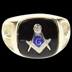 10K Black Onyx Masonic Emblem Symbol Men's Ring Size 10.5 Yellow Gold [CXQC]