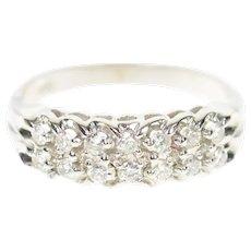 14K 0.28 Ctw Tiered Diamond Wedding Band Ring Size 6.75 White Gold [CXQC]