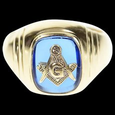 10K Men's Masonic Symbol Emblem Syn. Sapphire Ring Size 9.75 Yellow Gold [CXQC]