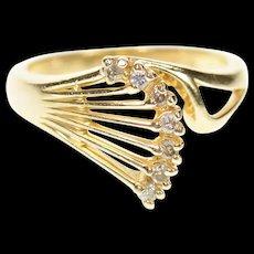 14K Fanned Diamond Wave Graduated Statement Ring Size 5.5 Yellow Gold [CXQC]
