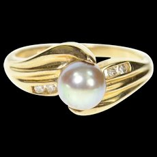 10K Tahitian Pearl Diamond Accent Bypass Ring Size 7 Yellow Gold [CXQC]