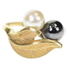 14K Pearl Hematite Retro Leaf Designs Statement Ring Size 5 Yellow Gold [CXQC]