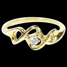 10K Diamond Solitaire Twist Design Promise Ring Size 6.5 Yellow Gold [CXQC]