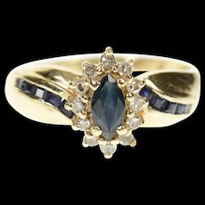 14K Marquise Sapphire Diamond Halo Bypass Ring Size 8 Yellow Gold [CXQC]