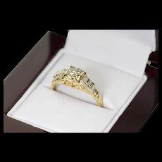 14K Retro Ornate Diamond Engagement Promise Ring Size 6.25 Yellow Gold [CXQC]