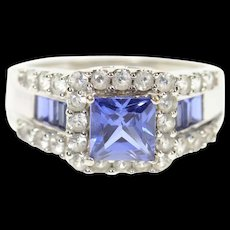 10K Princess Syn. Sapphire Cubic Zirconia Halo Ring Size 7 White Gold [CXQC]