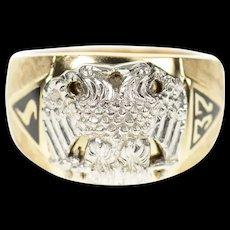10K Masonic Eagle 32nd Degree Mason Men's Ring Size 9.25 Yellow Gold [CXQC]