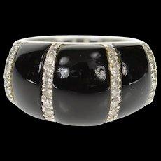 14K Black Onyx Diamond Striped Statement Ring Size 6.5 White Gold [CXQC]