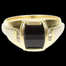 10K Black Onyx Diamond Men's Statement Ring Size 10.5 Yellow Gold [CXQC]