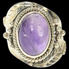 Sterling Ornate Amethyst Cabochon Southwestern Ring Size 5.75  [CXQC]