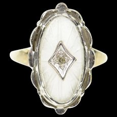 10K Retro Carved Frosted Glass Diamond Cocktail Ring Size 4.75 White Gold [CXQC]