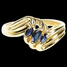 10K Marquise Sapphire Three Bypass Statement Ring Size 6.5 Yellow Gold [CXQC]