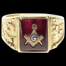 10K Ornate Men's Masonic Emblem Symbol Ring Size 10 Yellow Gold [CXQC]